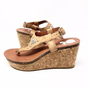 Lucky Brand| Narnie Cork Wedge Leather Sandal Heel